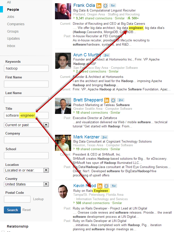 LinkedIn New Search NOT current title shows up as highlighted keyword hit elsewhere