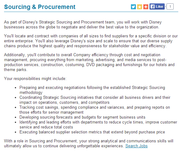 Description of Disney's Sourcing and Procurement Function from their ...