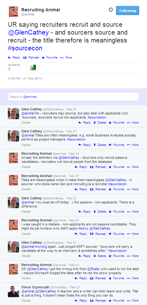 Twitter Disagreement Over Sourcing and Recruiting with @Animal
