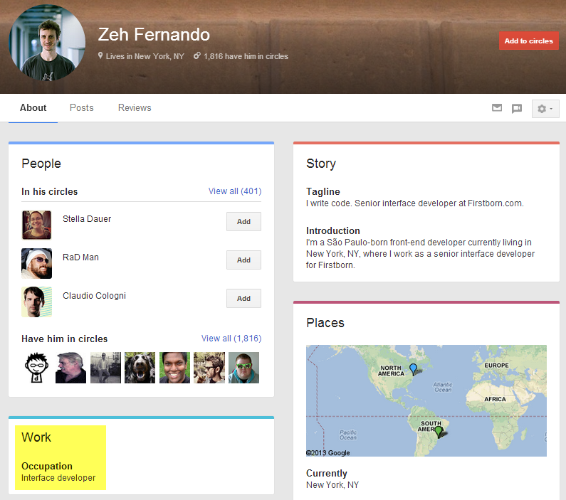 Google+ search result profile with no current employer. Kind of. :)